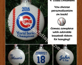 "CHICAGO CUBS FREE Personalized 2016 World Series Commemorative 4"" Tree Shatterproof Ornament makes the perfect Christmas gift!"
