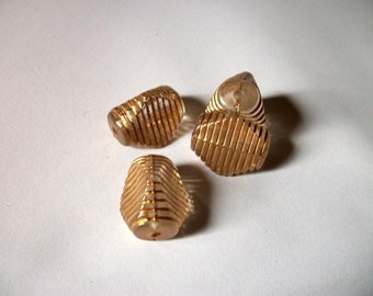 Acrylic Three Sided Beads With Gold Lines x 4  # V 4