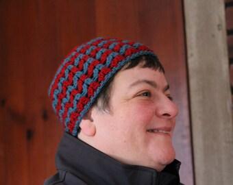 Crnaberry and Teal Ziggy Zag Adult Hat, Adult Hat, Zig Zag Design Hat, men hat, Woman hat, Cute Hat, Accessory, Ziggy Zag Adult hat, hat