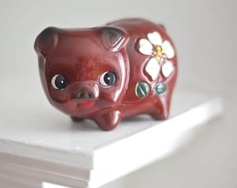 Vintage Red Piggy Bank