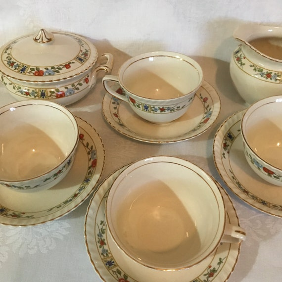 On Sale! 10 Piece Old English Sugar, Creamer and 4 Cups & Saucers by Johnson Brothers