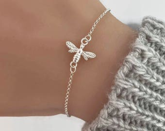 Bee Bracelet in Sterling Silver - Honey bee bracelet, Silver bracelet, Bee jewellerry