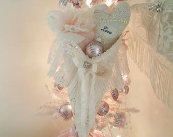 Vintage Lace Holiday Cone Tussie Mussie Romantic Ivory Fabric Cone Pink Christmas Cone