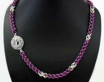 Violet Purple Niobium & Argentium Silver Rope Chain Necklace with Statement Clasp - Handcrafted Chainmaille