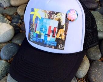 Trucker Hats, ALOHA FENCE, limited ed. w/pin back, Aloha,Beach, Surf, Hawaii, Summer, One Size Fits All, foam trucker hat, Surf, Best Seller