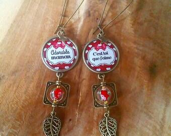 Earrings cabochon: Mama ICH Liebe Dich