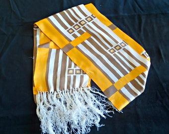 Vintage Scarf Long Orange Tan Fashion Scarf  F11