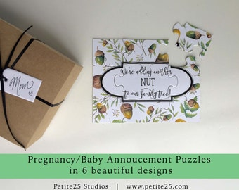 PUZZLE- Pregnancy Announcement, baby announcement, unique, sweet pea to our pod, acorn, another nut to the family, pea, you're going to be