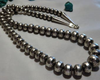 """Retired Carolyn Pollack 26"""" Desert Pearls STERLING Silver Stamped FLOWER Beads Graduated 16mm to 8mm Signed"""