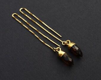 Smoky Quartz Threader Earrings, Crystal Threader Earrings