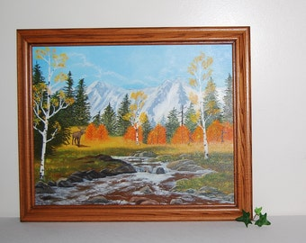 Vintage Birch and Mountain Landscape Painting