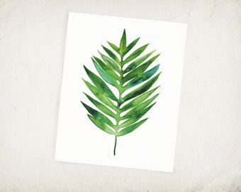 Tropical Palm Leaf - Watercolor Leaf Archival Print