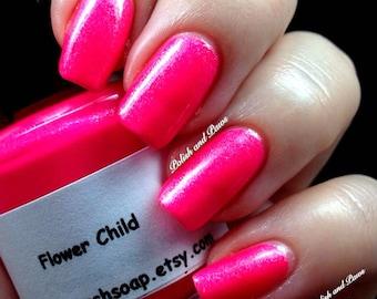 Neon Pink Nail Polish - FREE U.S. SHIPPING - Flower Child - UV Reactive Nail Polish/Lacquer - Regular Full Sized Bottle (15 ml size)