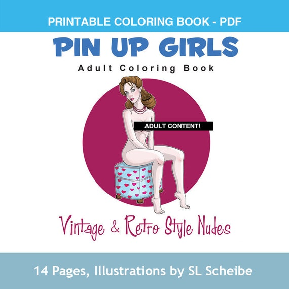 Adult Coloring book PDF Pin-up Girls retro style nude