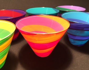 stemless martini glass with a swirl pattern in red, purple, yellow, lime, orange.....