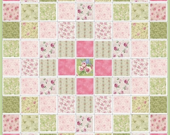 Rose Garden 2~Shades of Green and Rose~Precut Quilt Kit~Floral~Pink Roses~Fabric~QK#22