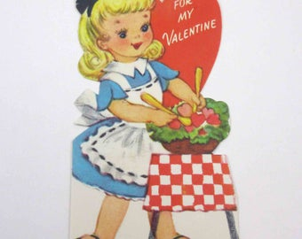 Vintage Children's Valentine with Cute Blonde Girl in Apron Fixing Salad Food by Gibson