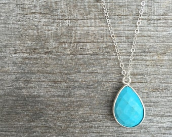 Turquoise Necklace- Teardrop Turquoise Necklace -Minimalist Necklace-Dainty Necklace -Petite Necklace -Layering necklace