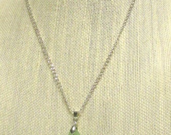 "19"" Silver Plated Chain w/Mint Green Sea Glass Pendant #20542 sea glass necklace"