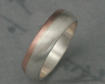 14K Rose Gold and Silver Ring--Two Tone Band--Modern Men's Band--Men's Wedding Band--6mm Wide Band--Men's Wedding Ring--Two Tone Band
