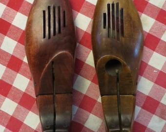 2 vintage shoe stretchers, wood shoe trees. molds, forms. Shoemaker.