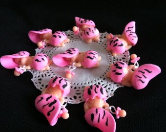 Pink Zebra Baby Shower, Girl Baby Shower Decorations, Pink Zebra Print Favors, Zebra Print Babies, Corsage Babies Figurine, Pink Mini Babies