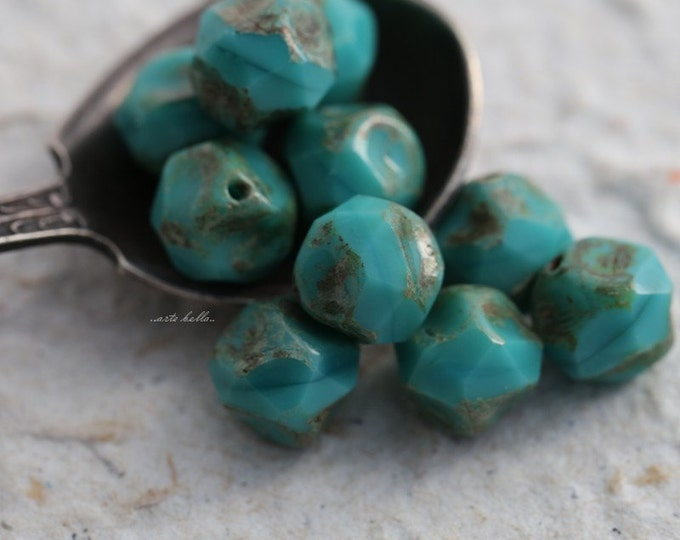 BAROQUE TURQUOISE .. 10 Picasso Czech Glass Baroque Beads 9mm (5525-10)