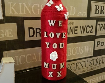 Mothers day gift wine bottle home. E decor