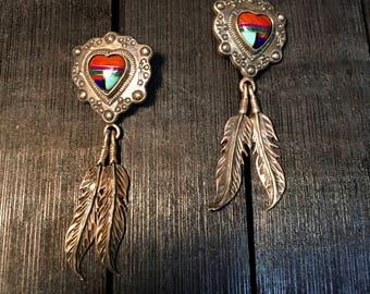 Vintage Native American Sterling Silver Earrings   #186