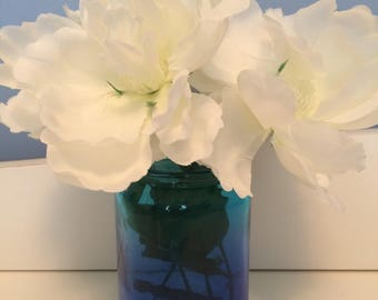 Blue to Teal Mason Jar with flowers