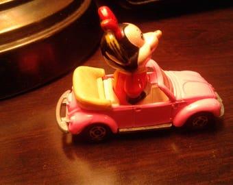 Vintage Pink Minnie Mouse VW Convertible Car/ Walt Disney Production