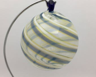 Swirled Christmas Bulb, Hand Blown Glass, Clear with White and Blue Swirls Ornament