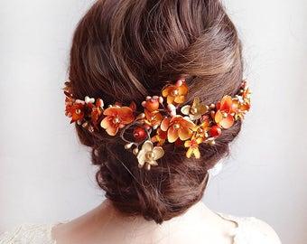 fall headpiece, burnt orange and gold hair vine, autumn wedding hair comb, orange flower, orange hair accessories, floral hair vine, pearls