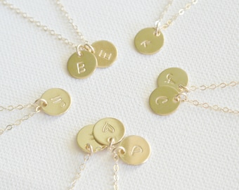 Personalized Initial Disc Necklace, 1 2 3 4 5 6 7 8 Initial Discs Necklace Personalized Jewelry, 14k GOLD Fill, Monogram Necklace