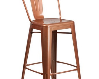 "Custom Tolix Style High Back Chair Bar Counter Stool in 24"" or 30"" COPPER Finish"