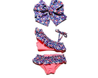 0M-9Years Orange floral swimsuit Baby swimwear Girls swimwear Kids swimsuit Baby girl swimsuit Baby swim suit Toddler Swimsuit Baby swimming