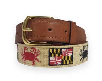 Hand Needlepoint Men's Belts-