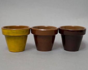 Vintage small plant pot set of 3 Scandinavian pottery Mixed colors Kitchen garden Windowsill decor Herb pots Rustic decor Trinket dishes