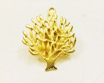 Vermeil, 18k gold over 925 sterling silver tree of life, matte gold tree of life, vermeil tree of life, gold tree