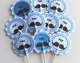 10 cupcakes (cupcake toppers) Mr. Blue mustache theme toppers