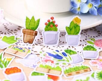 36pcs, flower Stickers, plant sticker flakes, floral, flowerpot, Planner Sticker, kawaii stationary, Scrapbook Sticker, journal, Sticker set
