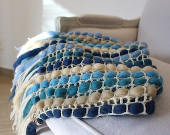 Crochet afghan for Wedding gift Blue and Gray Chunky yarn Wool blanket Rustic home decor for Anniversary gift Unique Sofa Throw Bed runner