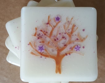 Cherry Tree with purple blossom Fused Glass Coasters (x4)