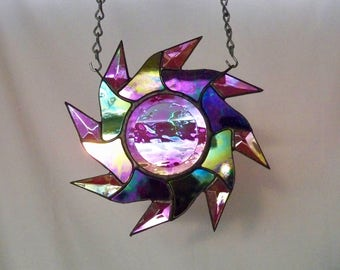 Stained Glass Spiraling Sun