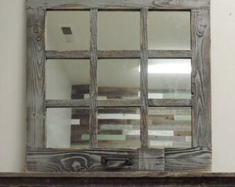 24 X 24 (9 Panes) Homesteader Style Barnwood Window Mirror & Window mirror | Etsy