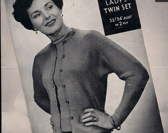 Original Vintage Knitting pattern - La Laine - 1940s  - Ladies Cardigan and Jersey - 1940s WW2 -  NOT A COPY.
