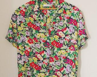 Vintage Button-up Floral Blouse  - 1980s 1990s era - crop top button up shirt