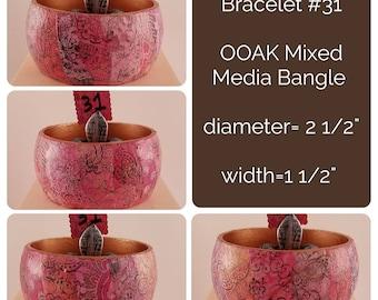 OOAK Art Bracelet #31 - Mixed Media Bangle