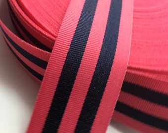"3 yards 1.5"" Reversible Nautical Preppy Navy and Hot Pink Stripe Grosgrain Ribbon"