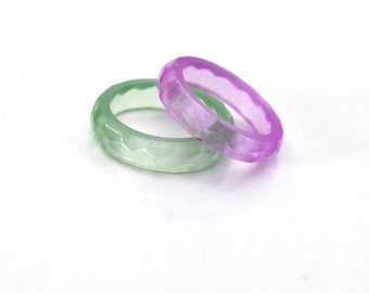 Green and purple resin ring, stacking ring set colorful ring, stacking ring, resin jewelry, thin ring, glow in the dark, minimalist ring